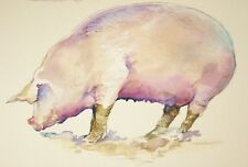 Pig Painting - original watercolour - farmhouse animal art