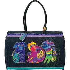 Dogs and Doggies Laurel Burch Large Canvas Overnight Tote Travel Bag