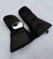 Vtg Olympia Brown Leather Snowmobile Snowboard Ski Gloves Mittens With Mirror S