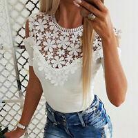Summer Lady Lace Cold Shoulder Shirt Ladies Casual Blouses Short Sleeve Tops