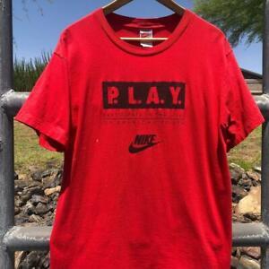 USA Made VTG 80s/90s Nike Gray Tag PLAY Swoosh SINGLE STITCH Promo T Shirt L