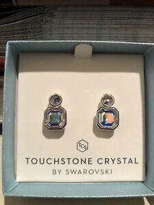 touchstone crystal swarovski square up earrings