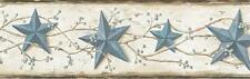 Wallpaper Border June Blue Heritage Tin Star Country Americana