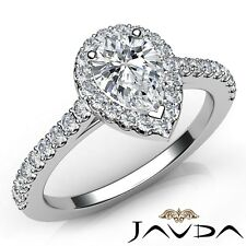 1.51ctw Halo U Pave Side Stone Pear Diamond Engagement Ring GIA I-SI2 White Gold