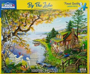 """White Mountain BY THE LAKE #1520 Jigsaw Puzzle 1000 piece 24x30"""" 2019 McIntyre"""