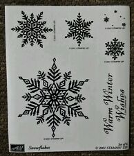 Stampin' Up SNOWFLAKES Set 6 Christmas Rubber Stamps Lot Warm Winter Wishes Snow