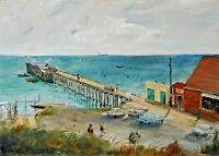 AUSTRALIAN OIL PAINTING ON BOARD - LORNE - BY WILL HATHERLY 1977
