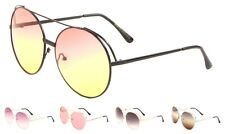 Wholesale 12 Pair Trendy Women Round Sunglasses with Oceanic Color Lens-Assorted