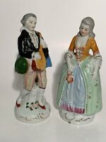 PAIR -COLONIAL STYLE MAN & WOMAN OCCUPIED JAPAN FIGURINES