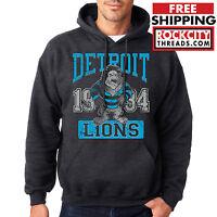 VINTAGE DETROIT LIONS HOODIE Hooded NFL Sweatshirt Lion Football Stafford Tate