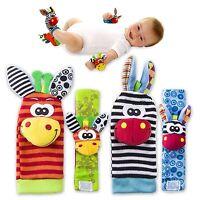 4 Piece Rattle Set Baby Sensory Toys Foot finder Socks & Wrist Rattles Bracelet