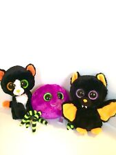 "NEW Ty Beanie Baby Boos 6"" Plush CRAWLEY Spider FRIGHTS Cat & BARON Bat Lot of 3"