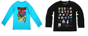 Boys Long Sleeved Tops Minecraft Turquoise Or Black