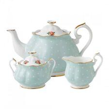 New Royal Albert 3-Piece Set: Teapot, Sugar & Creamer Polka Rose