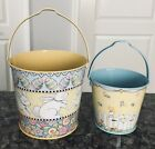 2 1998 Vintage Mary Engelbreit Easter Spring Bunny Rabbit Egg Tin Pails Baskets