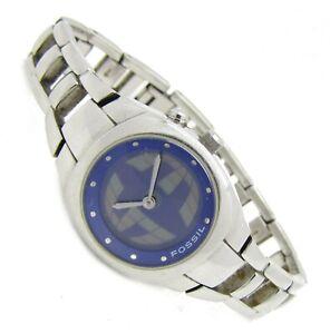 Fossil BIG TIC Damen Armbanduhr Edelstahl blau ES-9846 3ATM Batterie neu N119