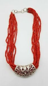 """925 Sterling Silver & Coral Bead Multi-Strand Necklace 18"""" LB500"""