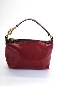 Coach Womens Leather Monogram Handbag Red