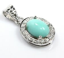 """Turquoise Rare Pendant Sterling Silver Sleeping Beauty Ct19  1.18"""" Gemstone Gift"""