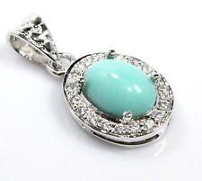 "Turquoise Rare Pendant Sterling Silver Sleeping Beauty Ct19  1.18"" Gemstone Xmas"