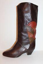 K & s studio 80er 80s true vintage vtg véritable cuir bottes leather slouch Boots 37