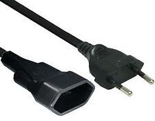 5m BLACK Euro Geräte Verlängerung s Kabel Stecker Kupplung Stromkabel 250V 2,5A