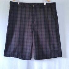 Anchor Blue Mens 42 Black Gray Plaid Shorts Flat Front