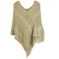 Elan Poncho Sweater With Fringe Tan Beige Boho Chunky Cable Knit Womens One Size