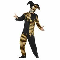 Adult Evil Jester Costume Gold & Black Mens Halloween Fancy Dress Outfit New