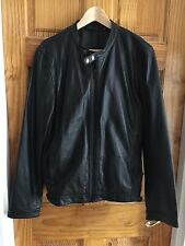 DKNY Mens Black Leather Motor Biker Jacket. New Size M