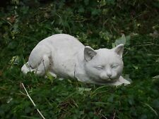 LARGE LAYING RESTING CAT CATS STONE GARDEN SCULPTURE STATUE