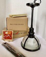 Pottery Barn Custom Industrial Ribbed Glass Pole Pendant Light Bronze Adjustable