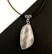 1 Natural Rose Quartz Gemstone Pendant with Adjustable Leather Necklace #1370