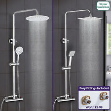 Rosa Exposed Thermostatic Shower Mixer Bathroom Twin Head Round Square Bar Set