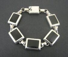 Black Onyx Rectangle Links Sterling 925 Silver Mexico Bracelet
