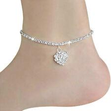 Fußkettchen Damen Kristall Herz Fußkette Barfuß Sandal Knöchel-Armband Schmuck