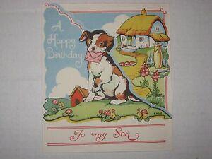 Vintage Birthday Greetings Card, A Happy Birthday To My Son - Unused