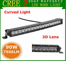 """19"""" 90W Cree LED Curved Slim Single Row Light Bar Offroad Lamp Jeep Ford 3D Lens"""