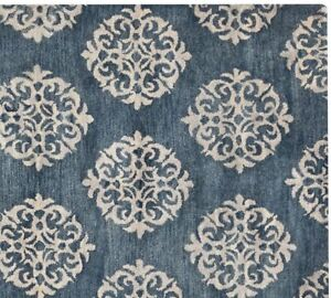 New Scroll Blue Handmade Wool Contemporary Style Area Rugs & Carpet