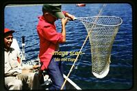 Boy Fishing on Boat w/ Knife, Dip Net, Fish Rod in 1961, Original Slide dia f10a