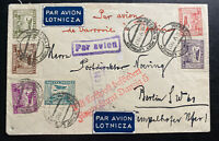 1931 Warsaw Poland First Flight Airmail Cover FFC To Berlin Germany Via Danzig