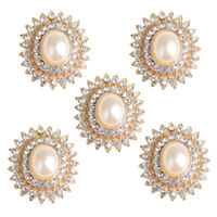 5pcs Crystal Pearl Embellishments Flatback Buttons for Wedding Crafts 29mm