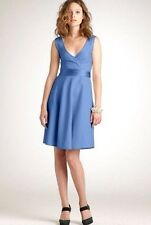 J Crew Cotton Cady SERENA Occasion Dress Size 14 Surplice A-Line Blue Formal D20