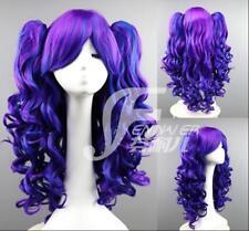 Lolita double mantis long curly maid blue blush purple 60cm anime Cosplay wig