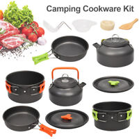Portable Cook Cooking Camping Cookware Set Anodised Aluminium Pots Pans Kettle