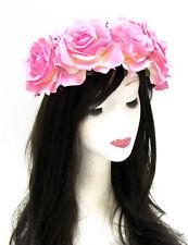 Large Pink Rose Flower Headband Sugar Skull Halloween Garland Hair Band Big P84