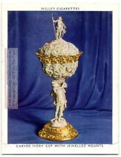 Ornate Carved Ivory Cup With Jeweled Mounts England Funtiture 1930s Trade Card