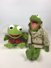2 Vintage Kermit the Frog Plush Toys Baby Kermit and Big Kermit Muppets