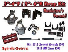 2014+ Chevy Silverado GMC Sierra 3/5 - 4/6 Adjustable Lowering Kit + Rear Shocks