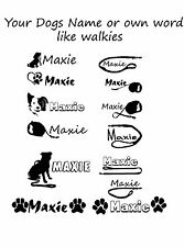 Personalised Dog Name + logo Vinyl Decal Sticker For bowls ,cars, windows, walls